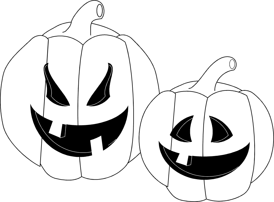 Illustration of two jack-o-lanterns : Free Stock Photo