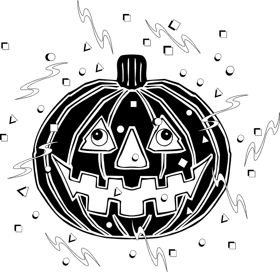 Illustration of a jack-o-lantern and confetti : Free Stock Photo
