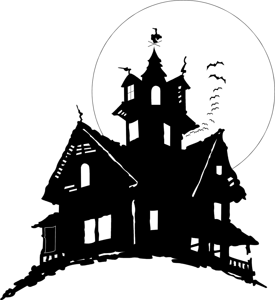 Illustration of bats flying by a haunted house : Free Stock Photo