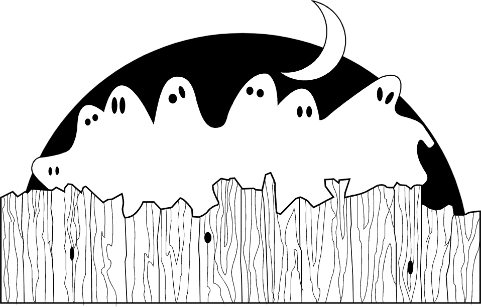 Illustration of ghosts sitting on a fence : Free Stock Photo