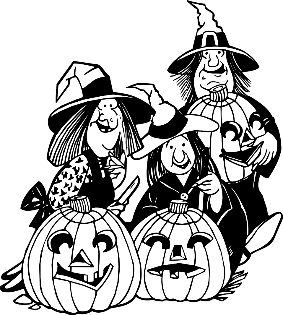 Illustration of witches and jack-o-lanterns : Free Stock Photo