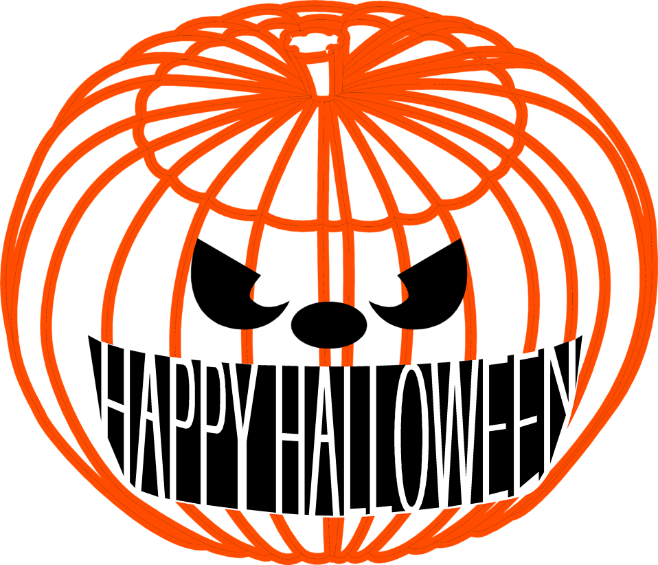 Illustration of a jack-o-lantern with halloween text : Free Stock Photo