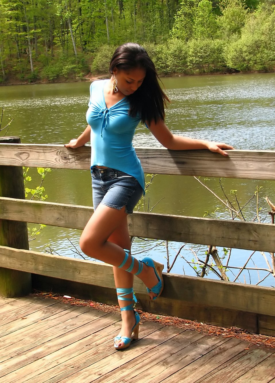 Portrait of a beautiful African American teen girl posing against a wooden fence by a lake : Free Stock Photo