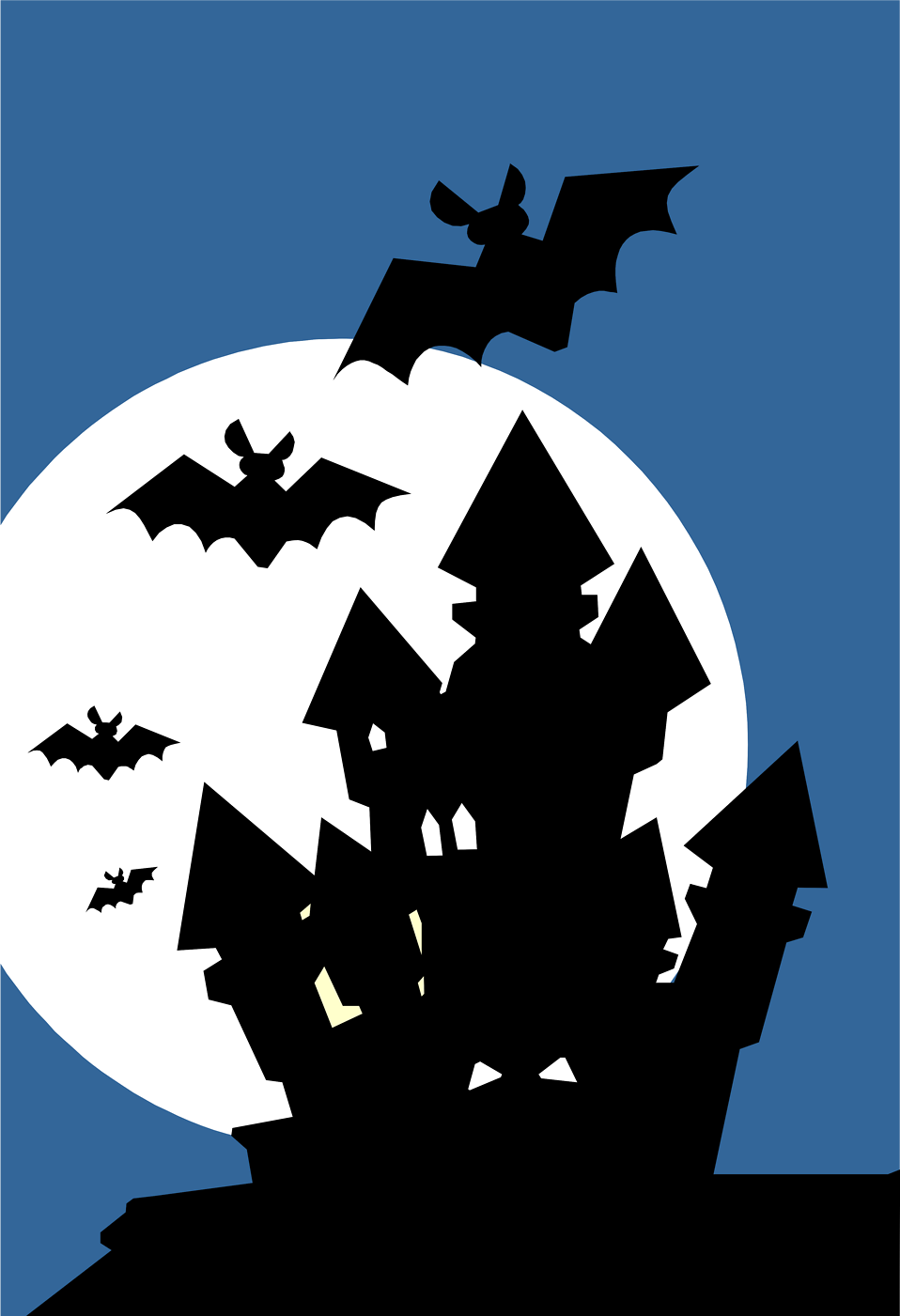 Illustration of a haunted house with bats : Free Stock Photo