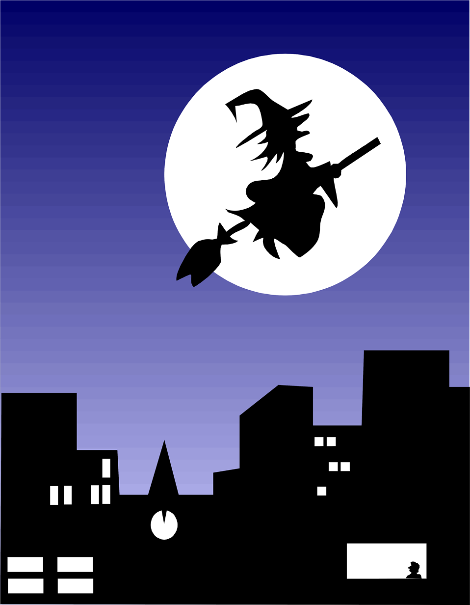 Illustration of a witch flying over a city : Free Stock Photo