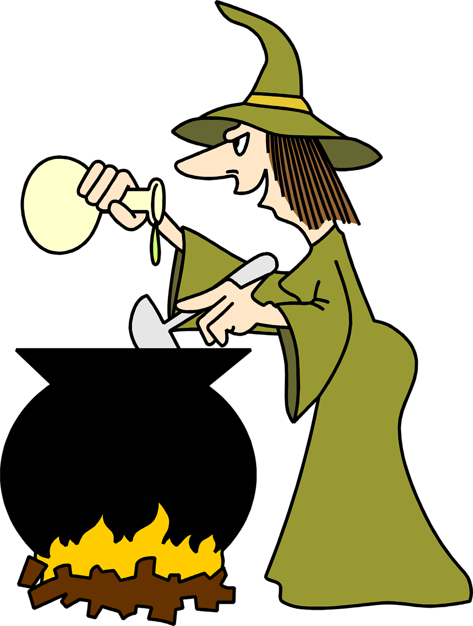 Illustration of a witch cooking witha cauldron.