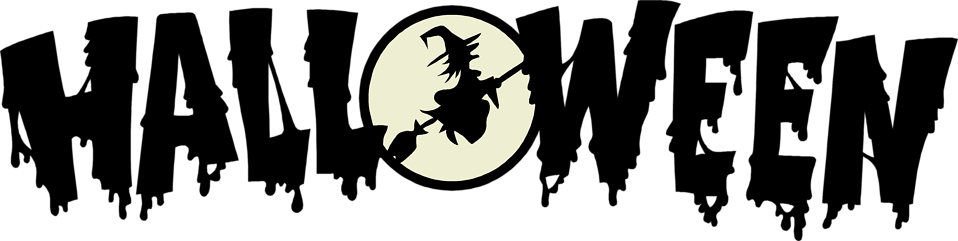 Illustration of halloween text with a flying witch : Free Stock Photo