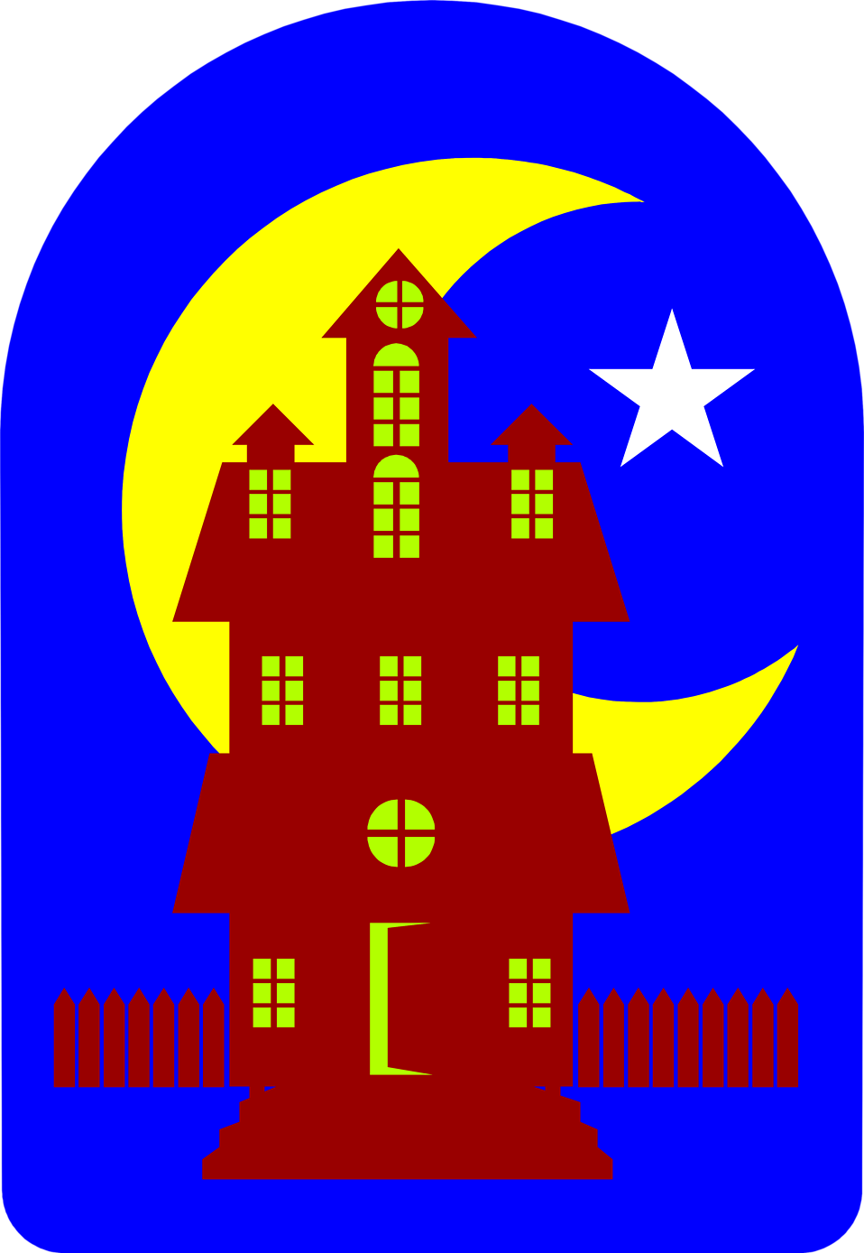 Illustration of a haunted house with the moon in the background : Free Stock Photo