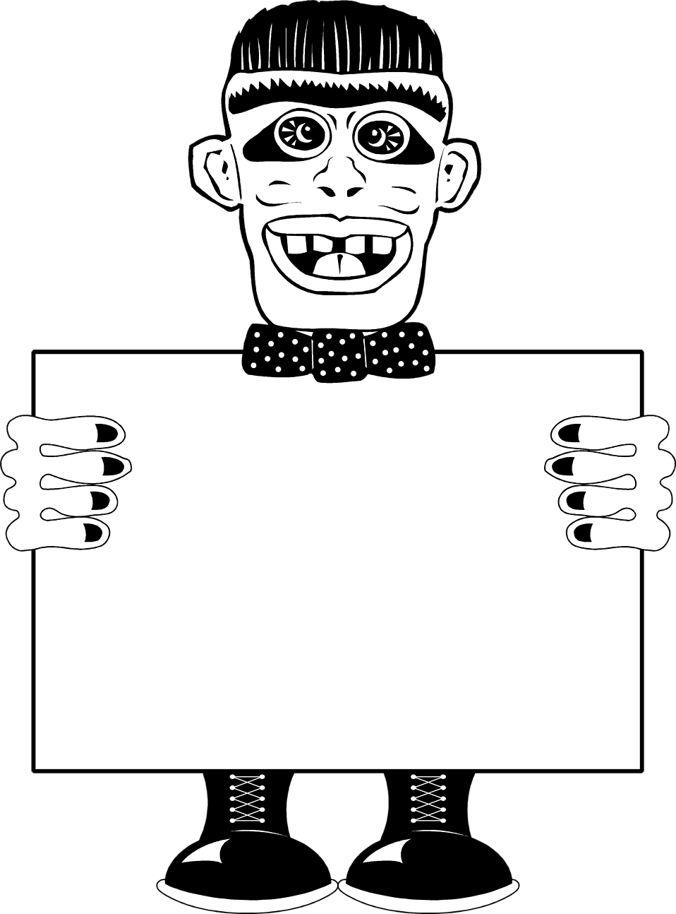 Illustration of a monster holding a blank sign : Free Stock Photo