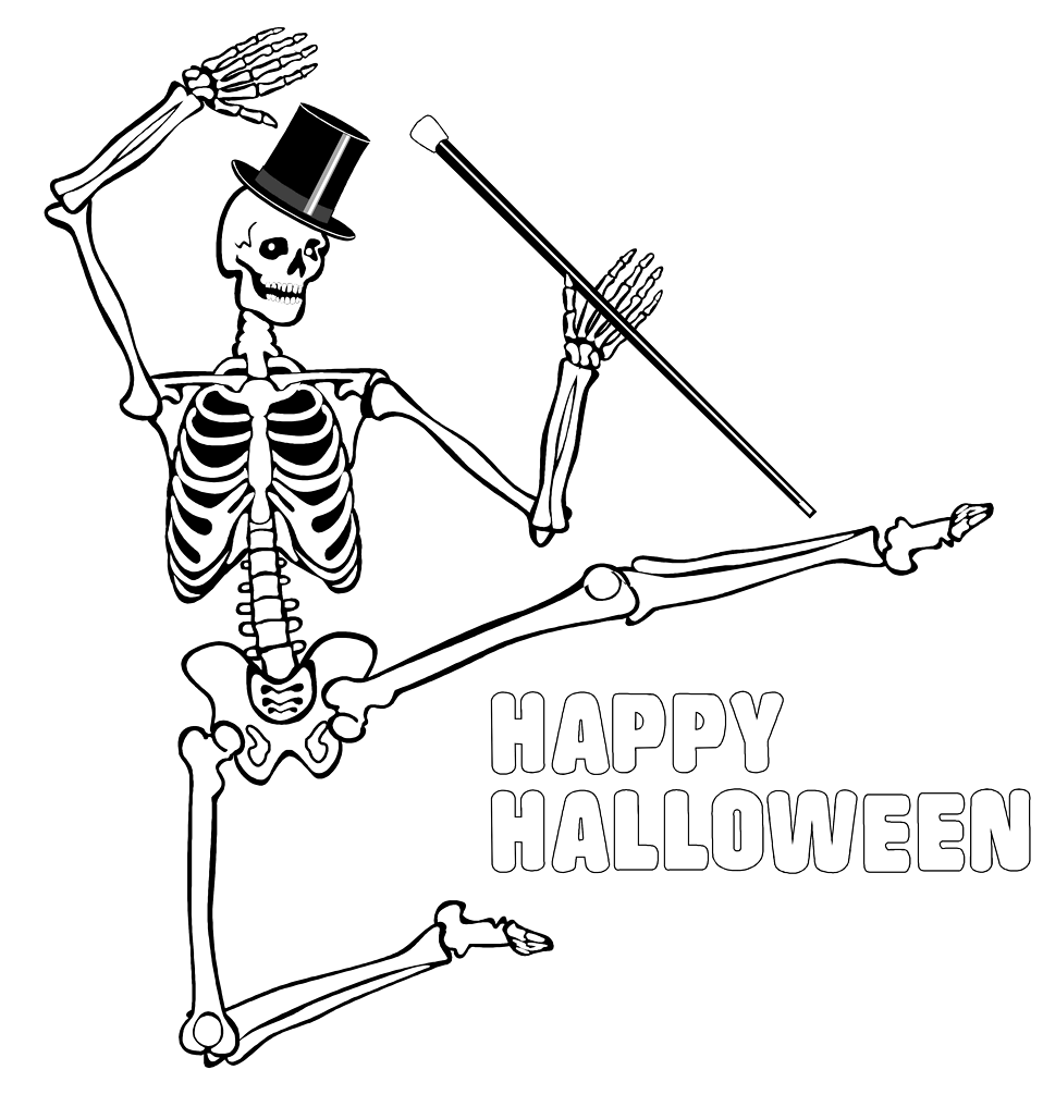 Illustration of a dancing skeleton with halloween text : Free Stock Photo