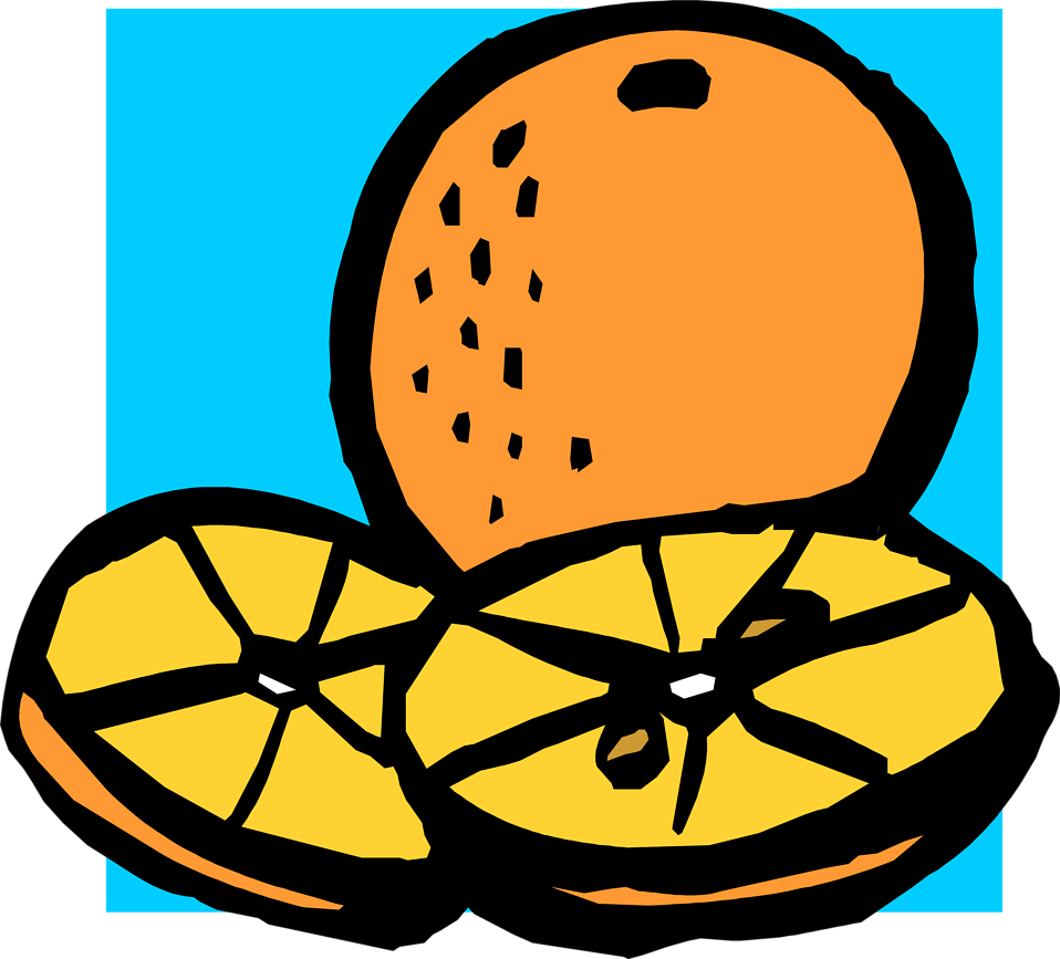 Illustration of an orange and orange slices : Free Stock Photo