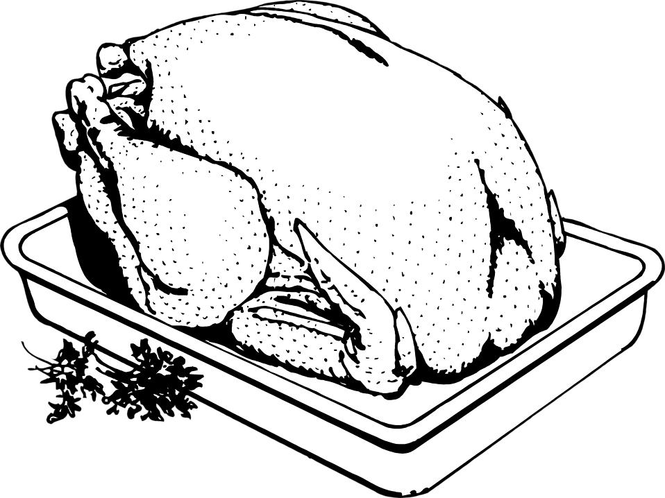 Illustration of a turkey cooking in a pan : Free Stock Photo
