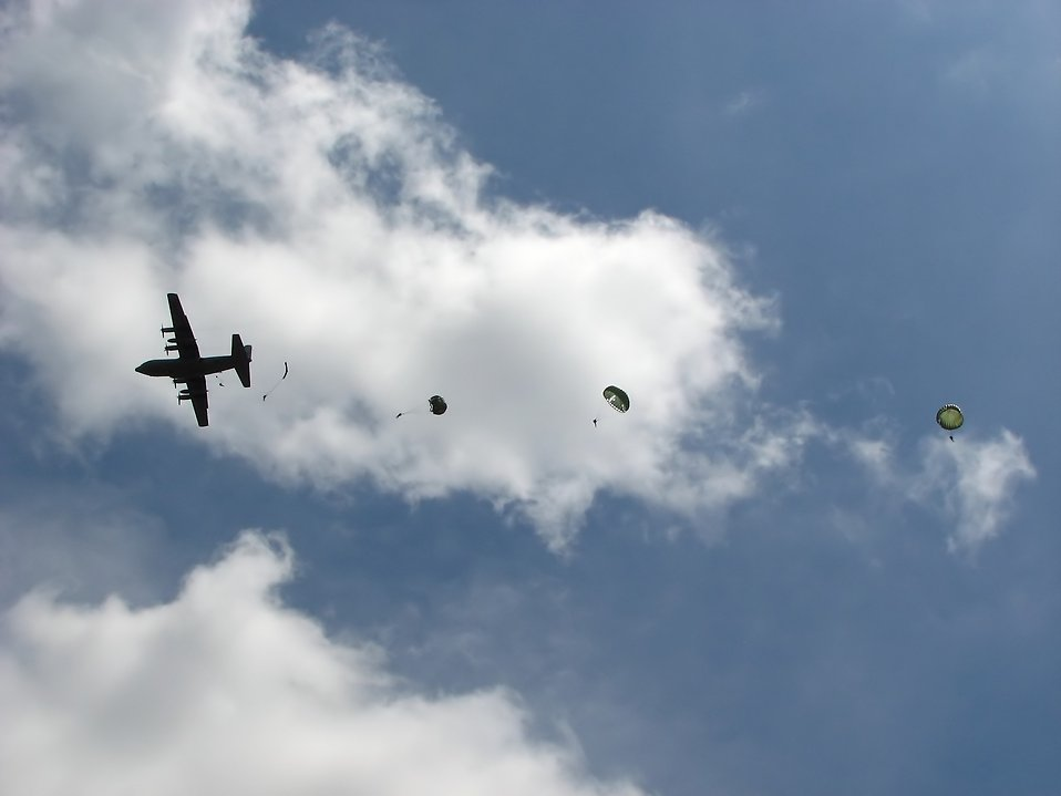 Soldiers parachuting from a C-130 military plane : Free Stock Photo