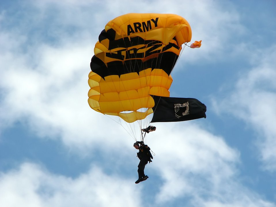 A member of the US Army Golden Knights parachuting at the 2009 Robins AFB Air Show. : Free Stock Photo