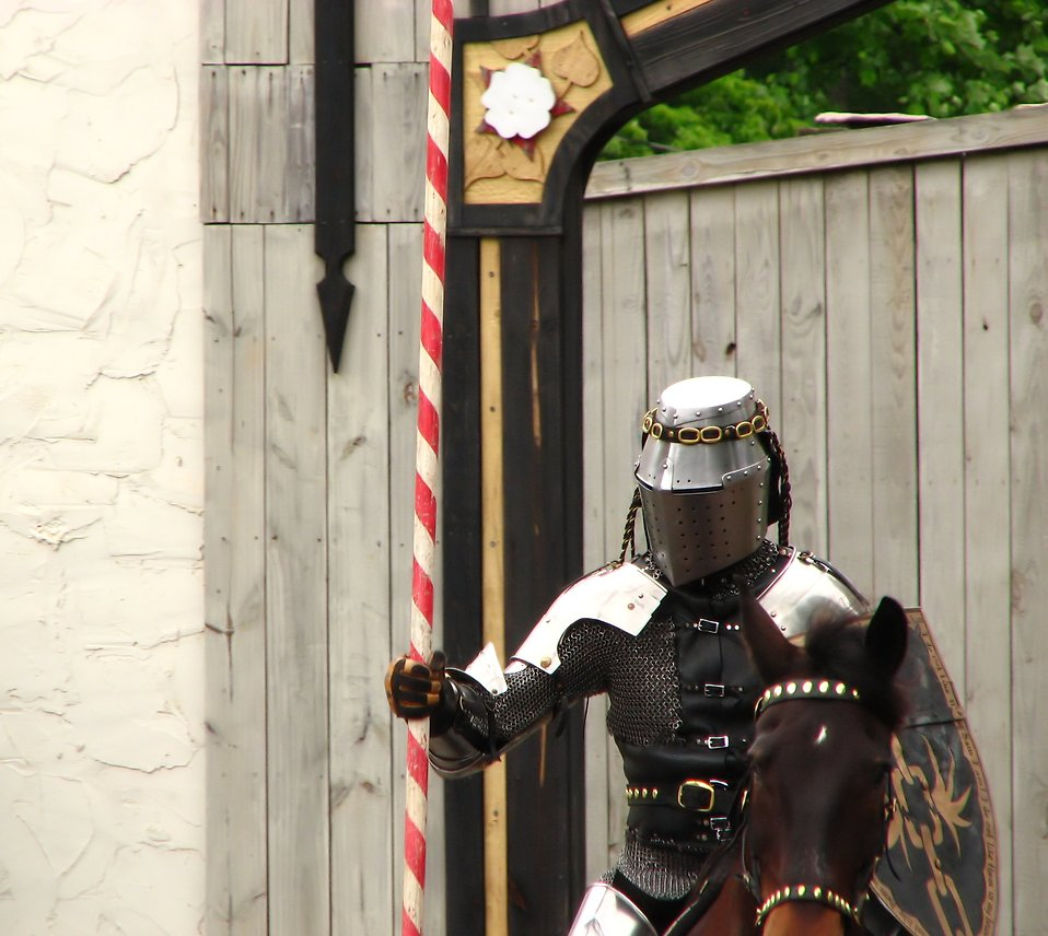 A knight on a horse in the jousting arena at the 2009 Georgia Renassance Festival.