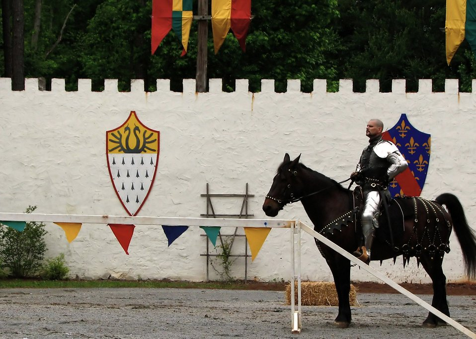 A knight on a horse in the jousting arena at the 2009 Georgia Renassance Festival : Free Stock Photo