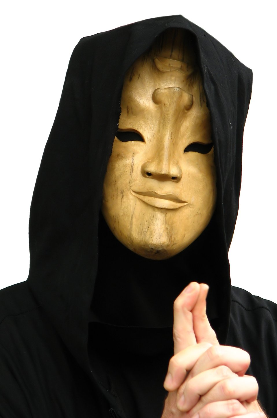 A man in a strange wooden mask : Free Stock Photo
