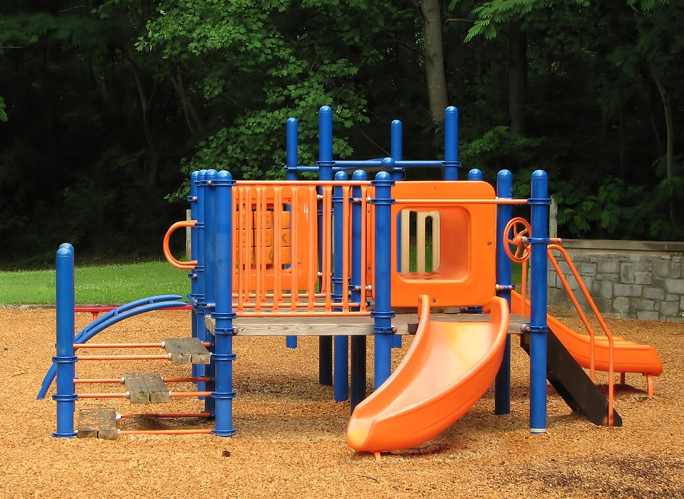 An orange and blue playground : Free Stock Photo