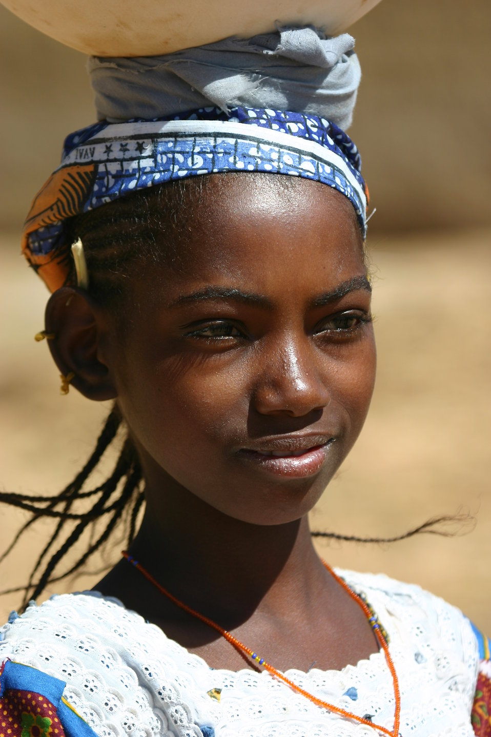 A young beautiful Fulani (Peul) girl in Kani Kombole in the Dogon Valley in Mali : Free Stock Photo