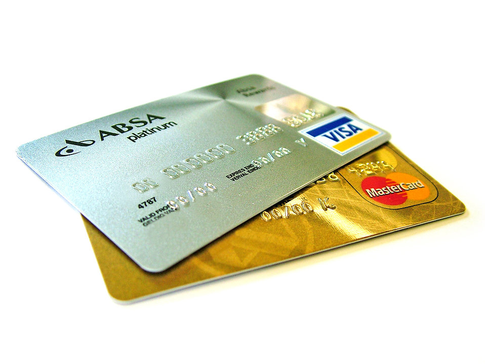 Isolated credit cards.