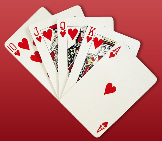 Free Stock Photo: A royal flush of hearts