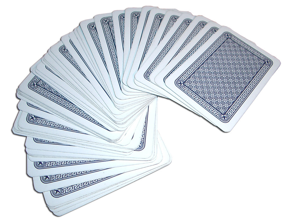 A deck of cards spread out on a white background.