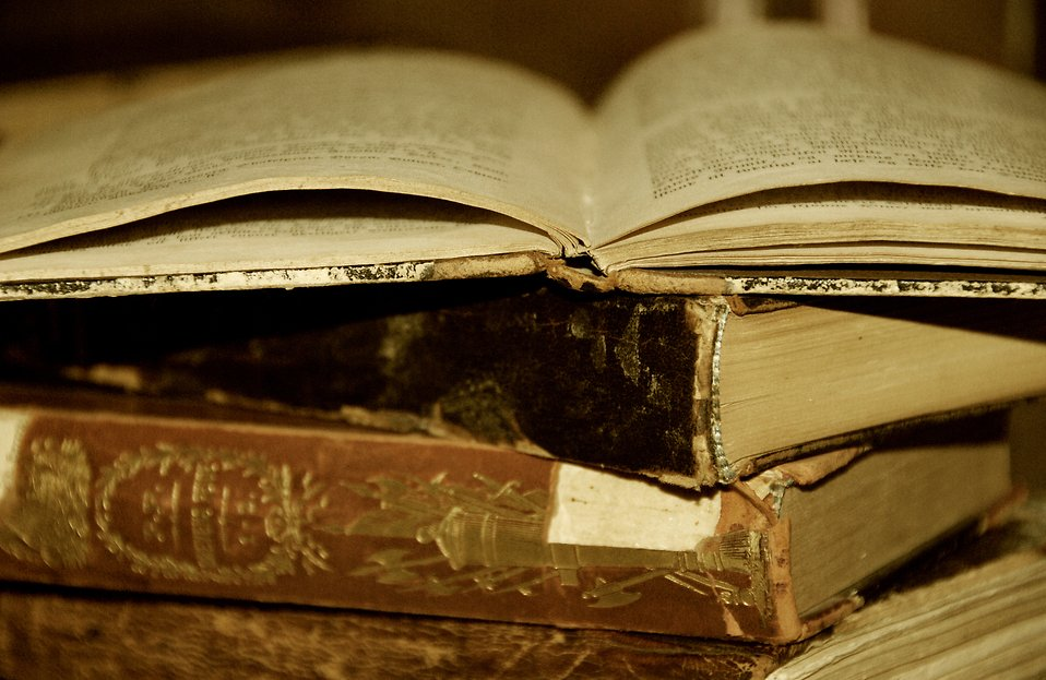 Free Stock Photo: A pile of antique books