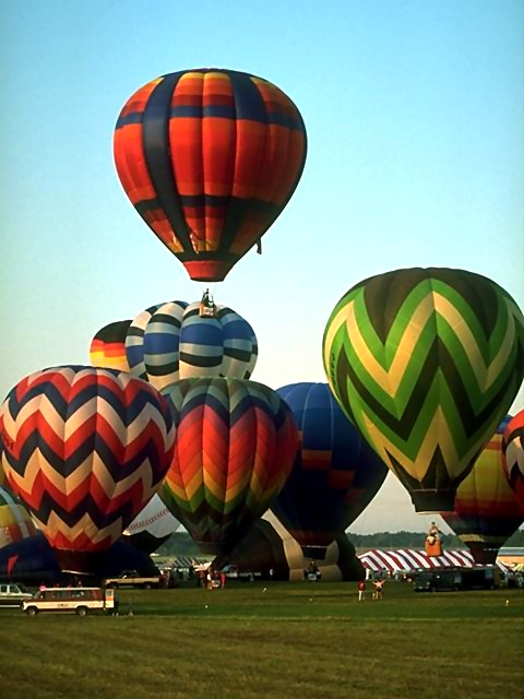 Hot air balloons taking off from a field.