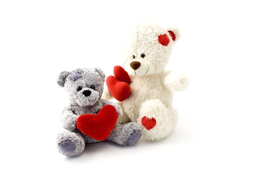 Teddy bears with hearts isolated on a white background : Free Stock Photo