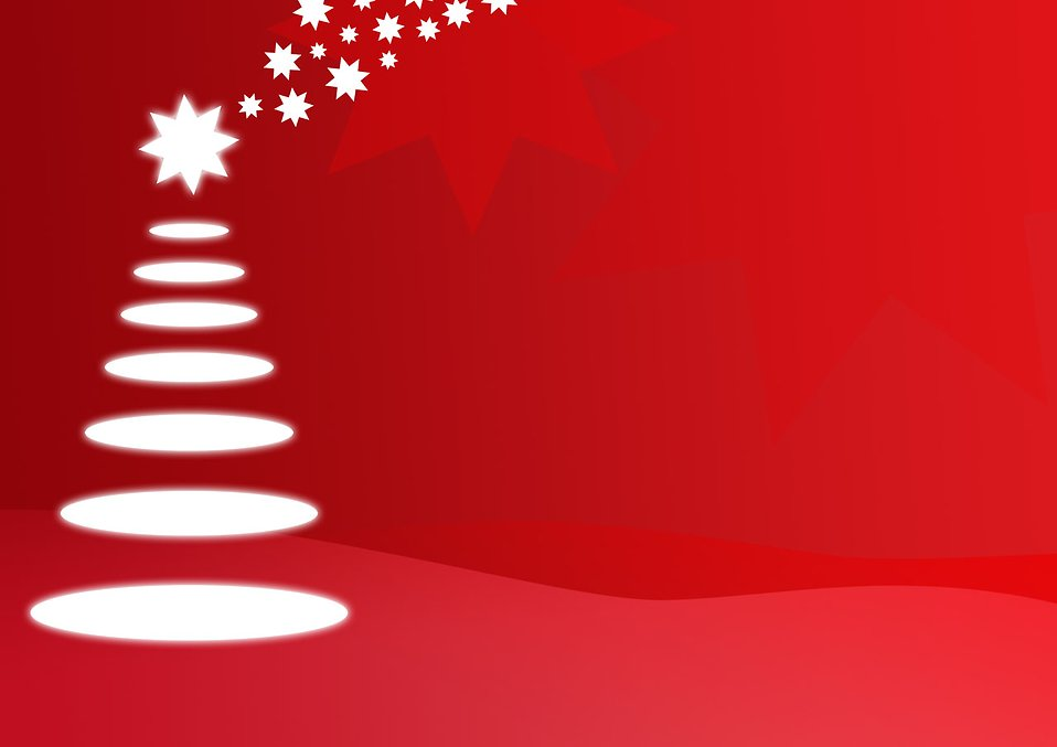 Christmas illustration of a Christmas tree with a red background and stars : Free Stock Photo
