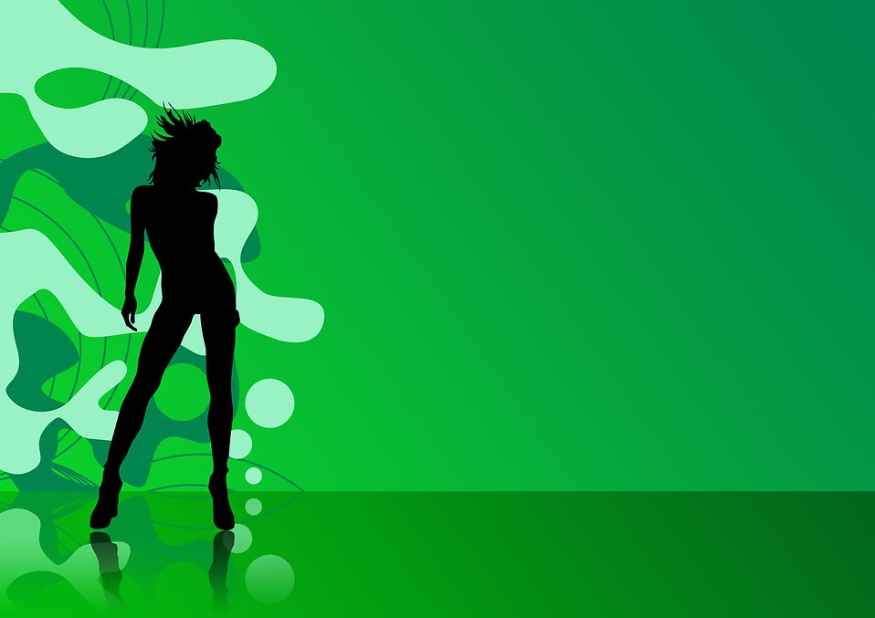Silhouette Dance Music Abstract Background: Illustration Of A Female