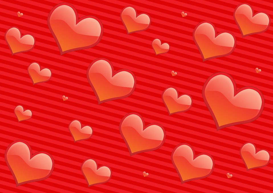 Illustration of hearts on a red background : Free Stock Photo