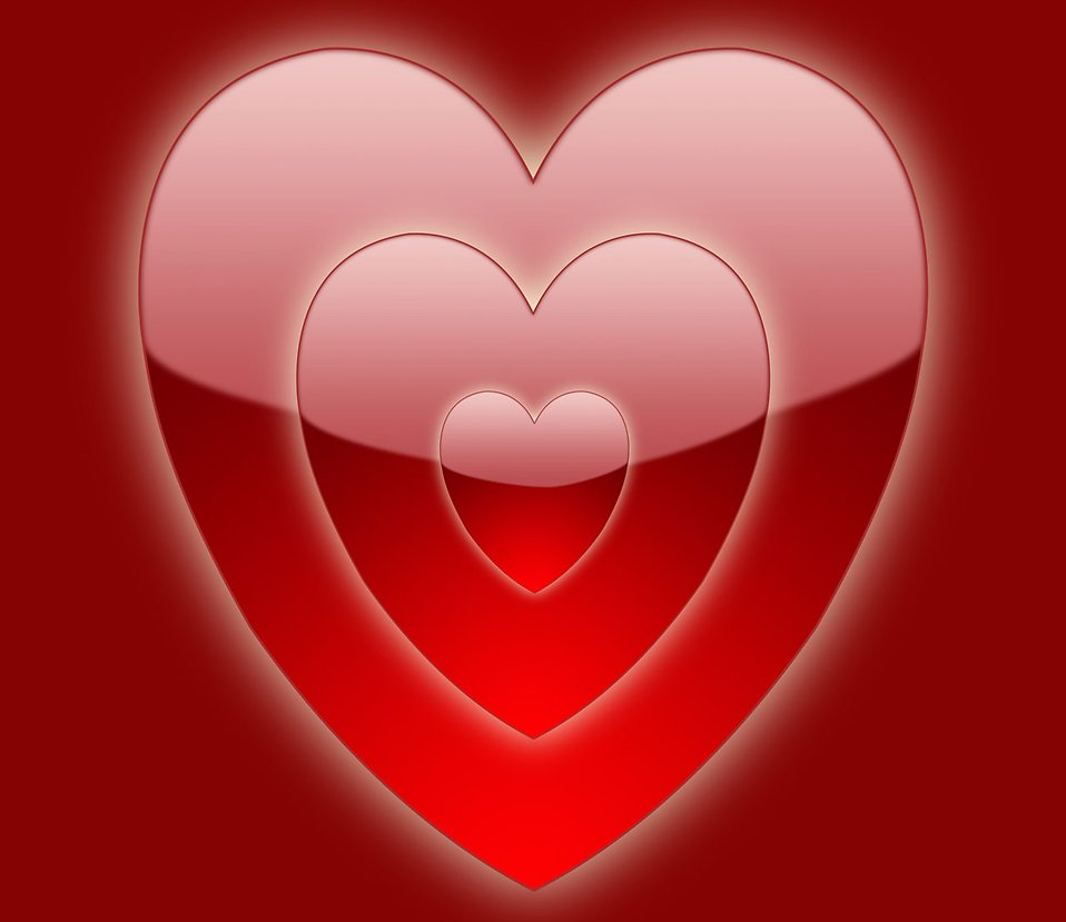 Illustration of a red heart on a red background : Free Stock Photo