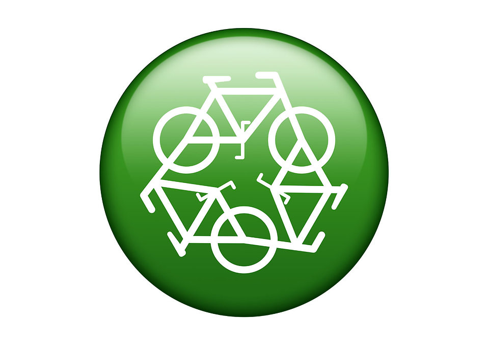 A green recycle symbol of white bikes on a white background : Free Stock Photo
