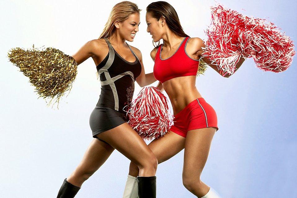 Two beautiful Asian cheerleaders : Free Stock Photo