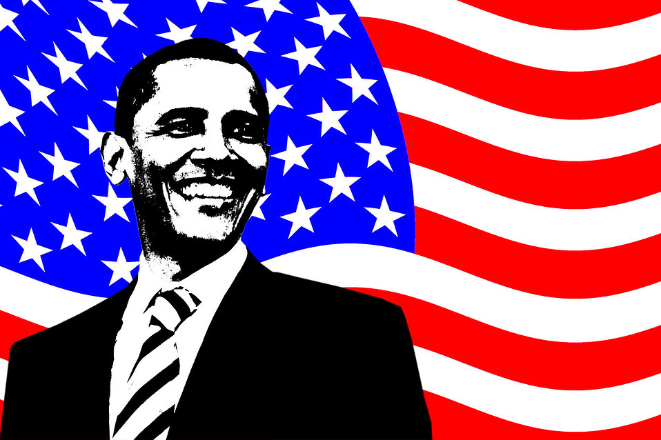 An illustration of Barack Obama with an American Flag background : Free Stock Photo