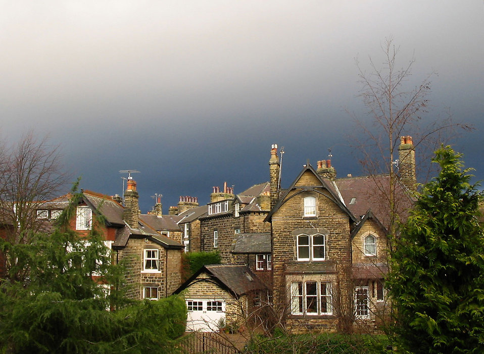 A stormy sky over a small town : Free Stock Photo