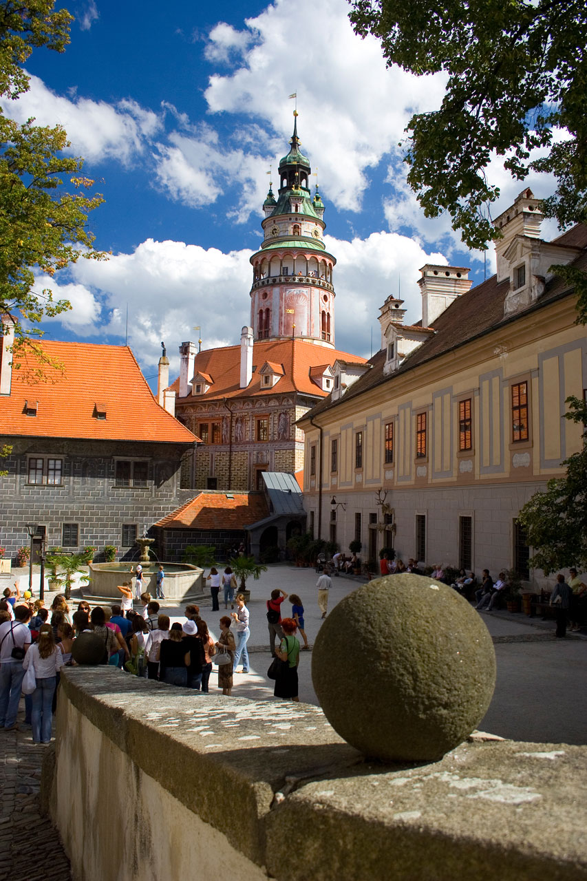 A beautifully painted tower in Cesky Krumlov town : Free Stock Photo