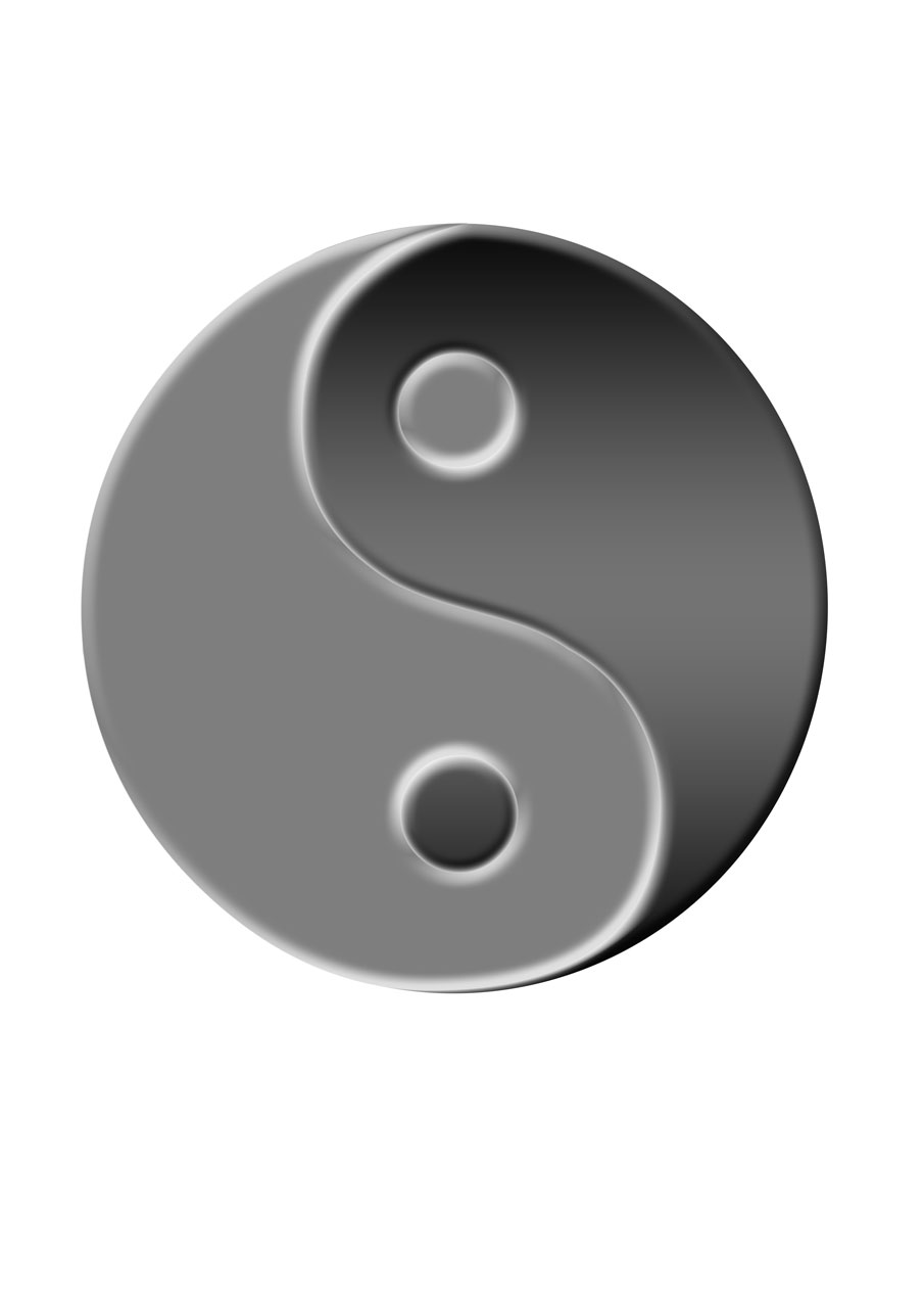A yin yang symbol isolated on a white background : Free Stock Photo
