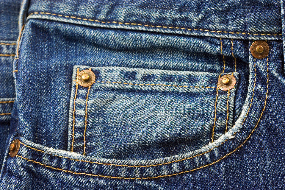 Close-up of a blue jean pocket : Free Stock Photo