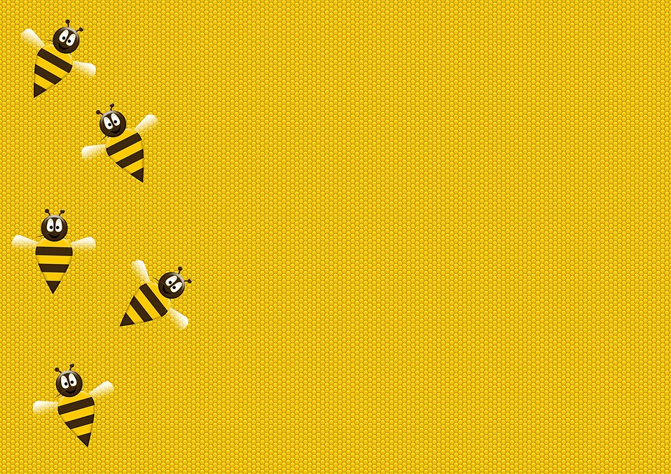 Cartoon bees on a honeycomb background : Free Stock Photo