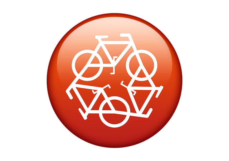 A red recycling symbol of bicycles on a white background : Free Stock Photo