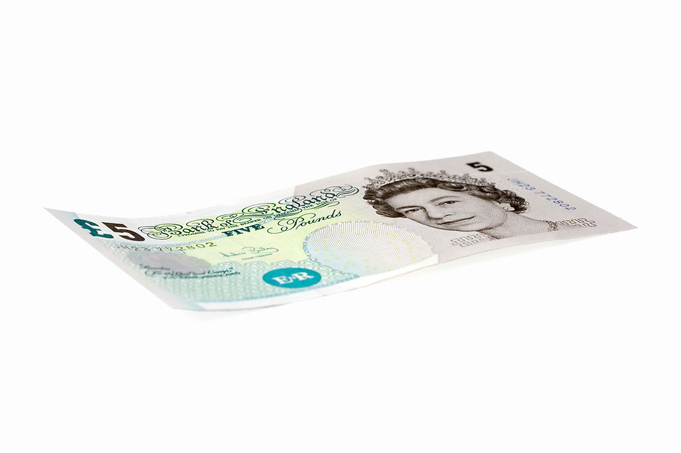 A 5 Pound bank note isolated on a white background : Free Stock Photo