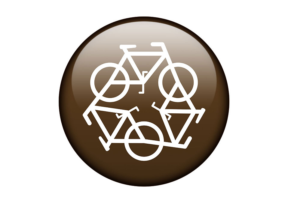 A brown recycling symbol of bicycles on a white background : Free Stock Photo