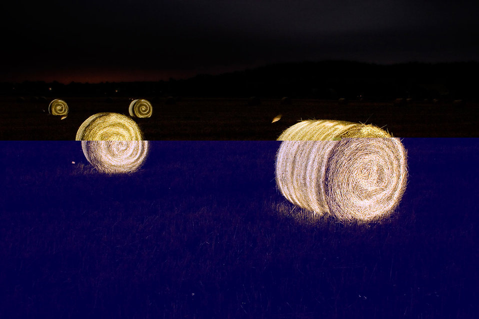 Illuminated bales of hay : Free Stock Photo