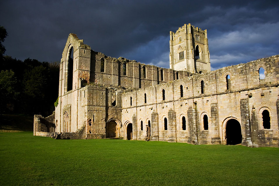 Fountains Abbey in Yorkshire at night : Free Stock Photo