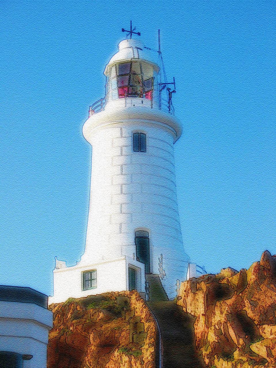 Illustration of a white lighthouse : Free Stock Photo
