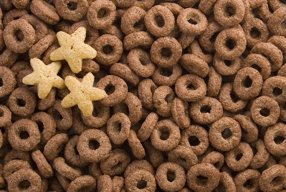 Close-up of chocolate ring breakfast cereal with star shapes : Free Stock Photo