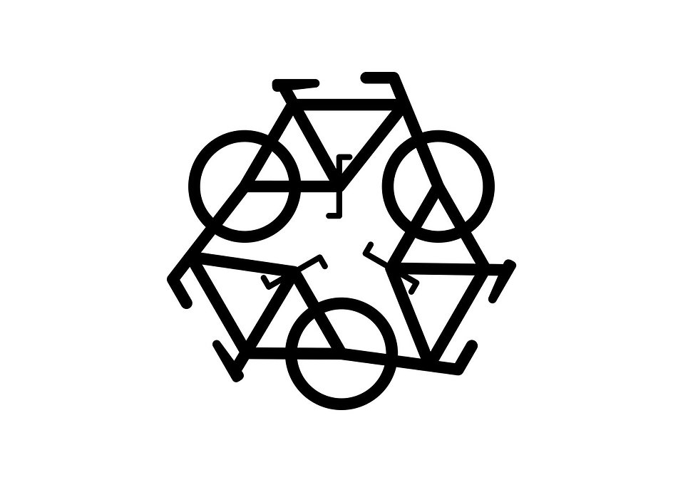 A recycling symbol of bicycles on a white background : Free Stock Photo