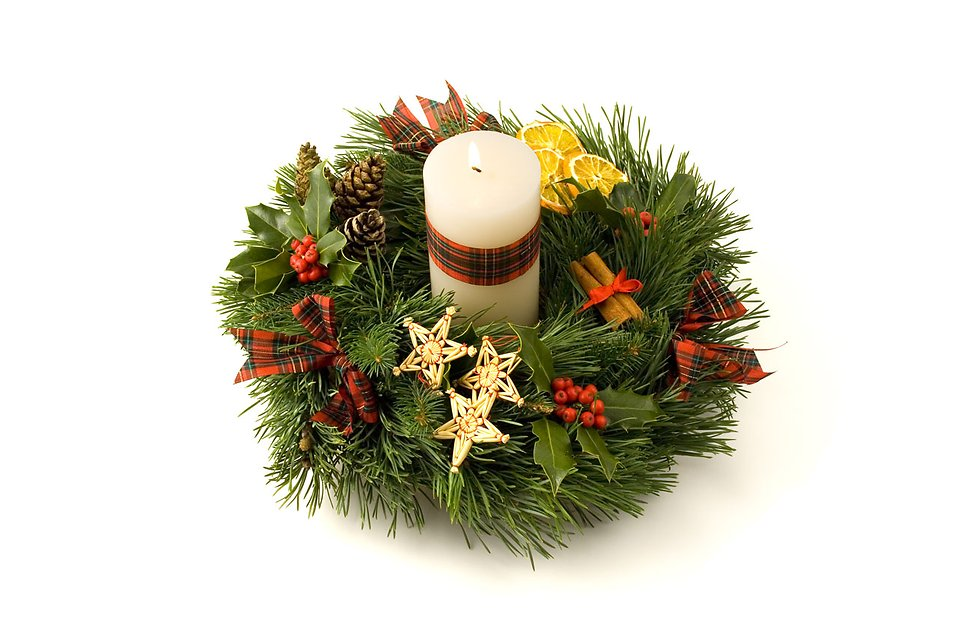An advent wreath with a white candle isolated on a white background : Free Stock Photo